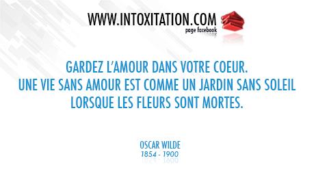 Citation : Gardez l'amour dans votre coeur. Une vie sans amour est comme un jardin sans soleil lorsque les fleurs sont mortes.