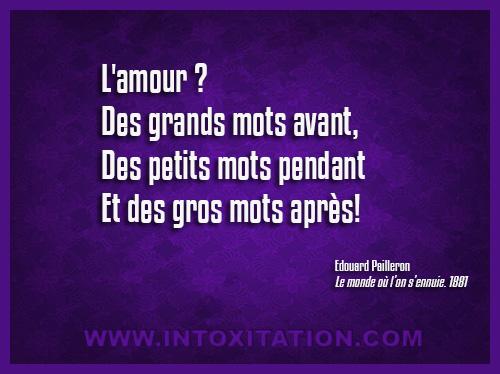 Citation : L'amour ? Des grands mots avant, des petits mots pendant, et de gros mots après.